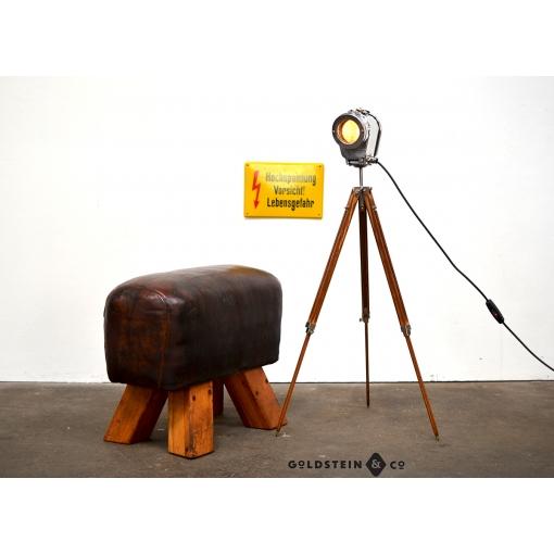 Kranscheinwerfer / SBF / chrom mit Holzstativ