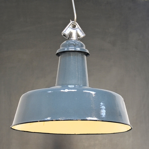 grau-blaue Emaillelampe